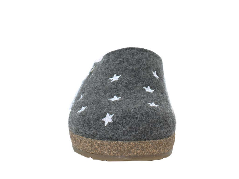 Haflinger Felt Clogs Grizzly Stars Anthracite front view