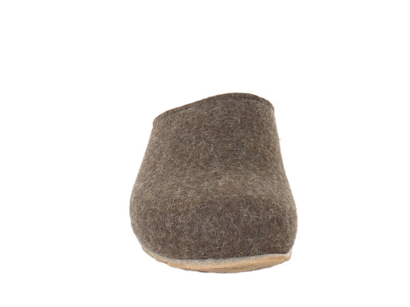 Haflinger Felt Clogs Grizzly Michl Choco front view