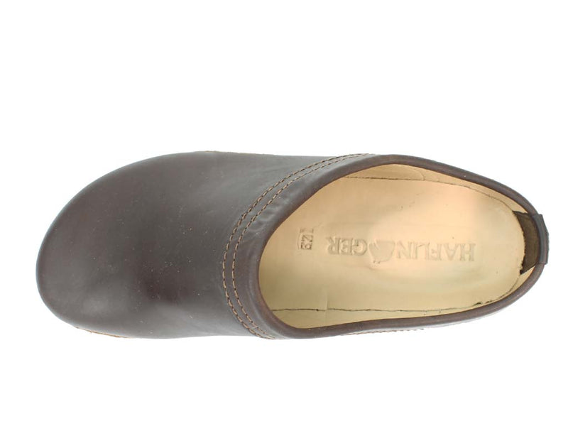 Haflinger Leather Clogs Malmo Brown upper view