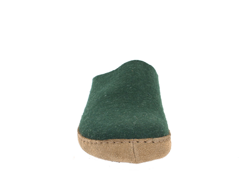 Haflinger Felt Slippers Emil Green front view