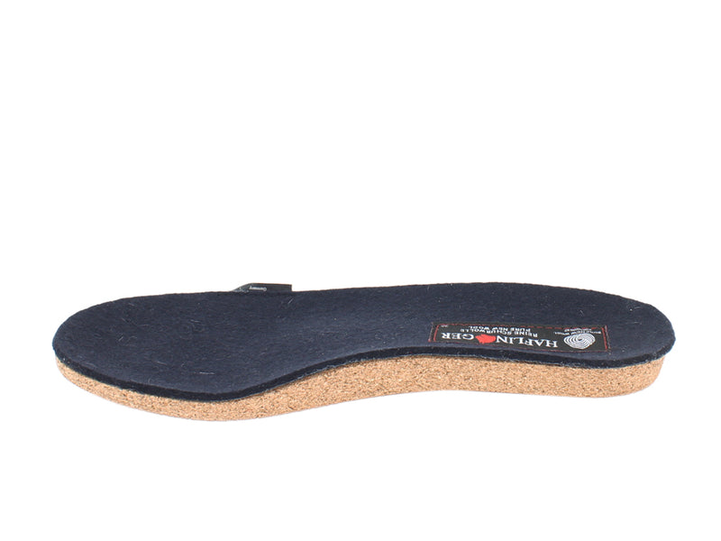 Haflinger Felt Clogs Emil Navy Blue footbed