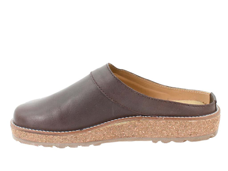 Haflinger Leather Clogs Travel Choco Brown side view