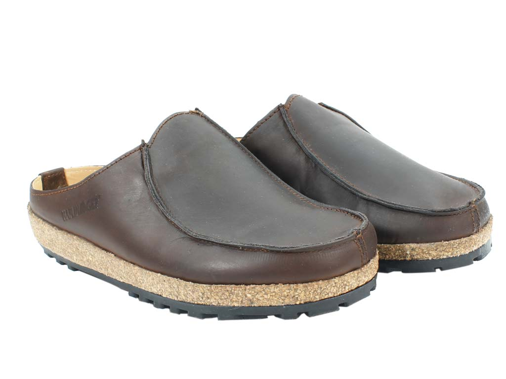 Haflinger Leather Clogs Kolding Brown pair view