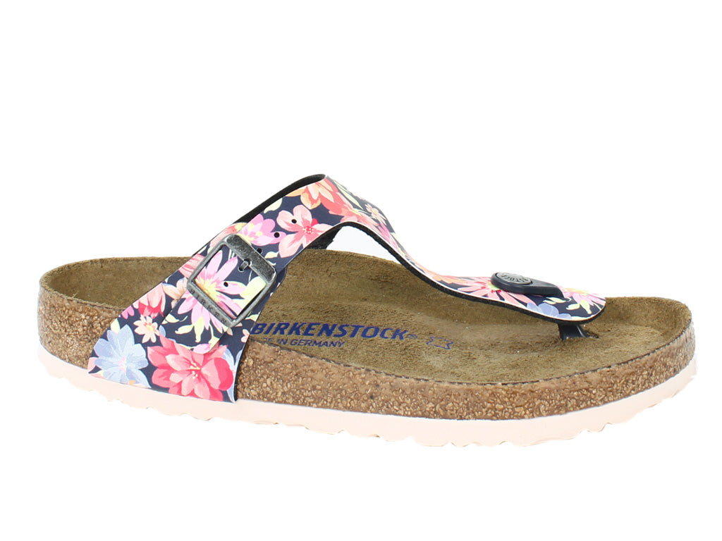 Birkenstock Sandals Gizeh Flowers Navy side view