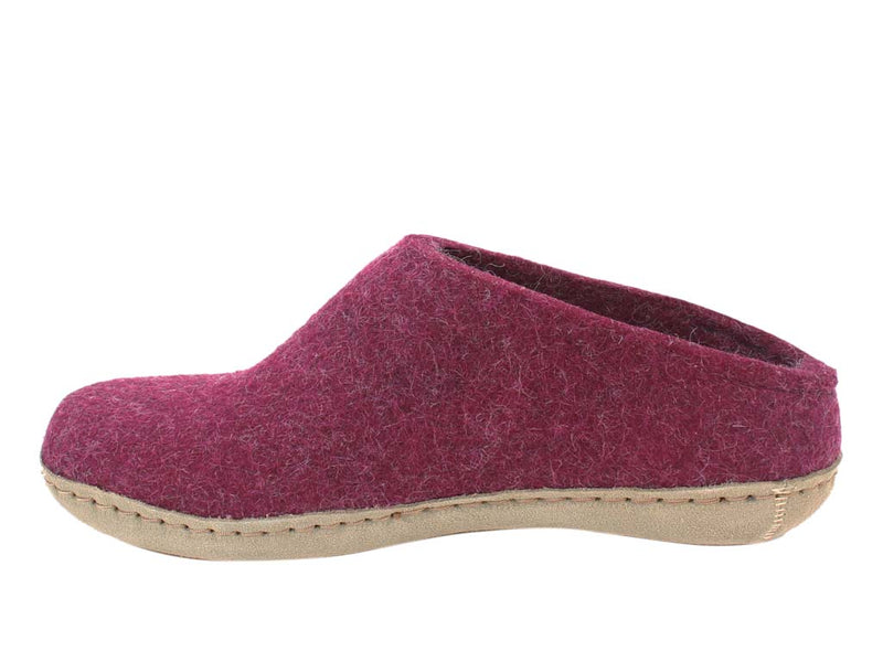 Glerups Slippers open heel Cranberry side view