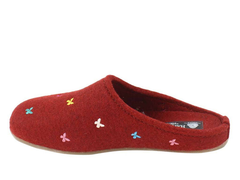 Haflinger Slippers Everest Butterflies Red side view