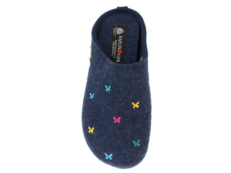 Haflinger Slippers Everest Butterflies Jeans top view