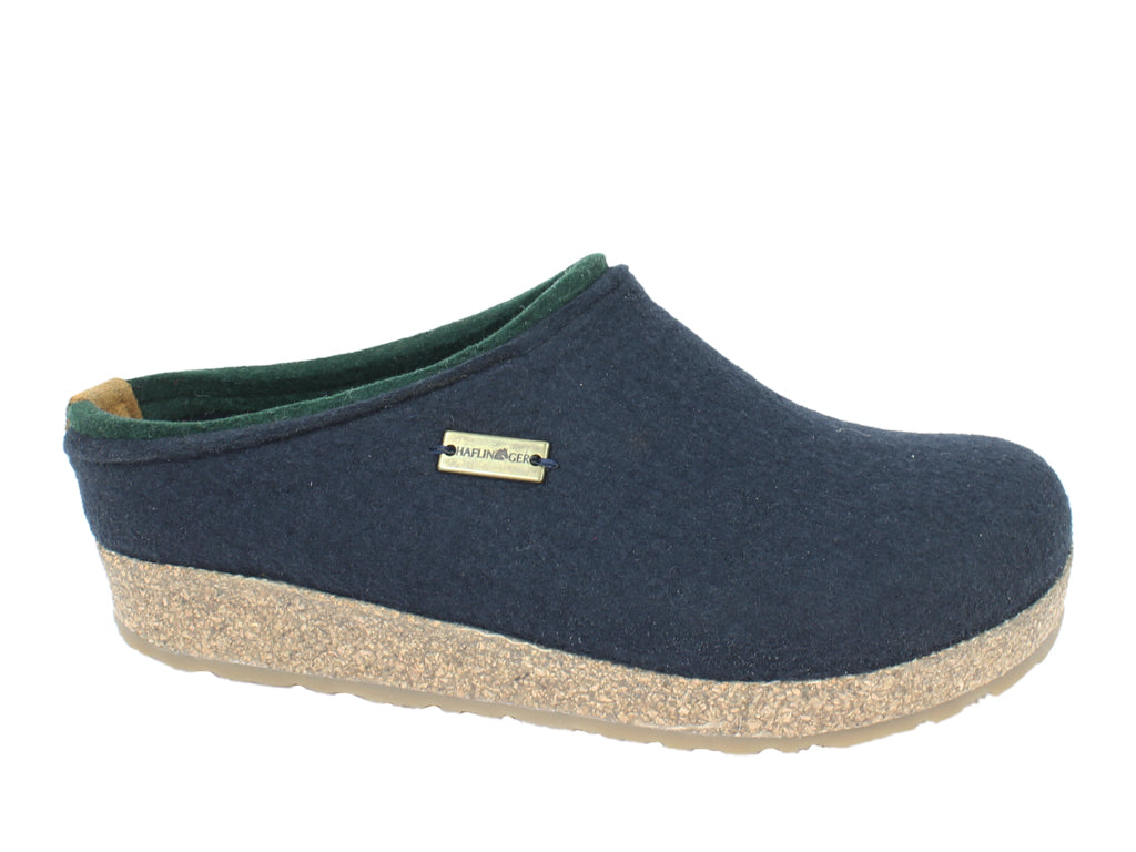 Haflinger Felt Clogs Grizzly Kris Navy Blue side view