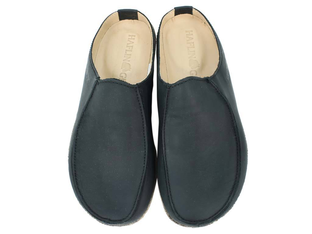 Haflinger Leather Clogs Kolding Black upper view