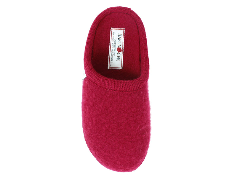 Haflinger Slippers Cashmere Red top view