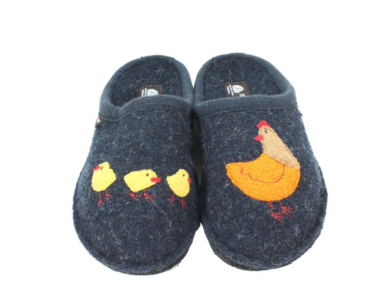 Haflinger Slippers Flair Hen Blue top view