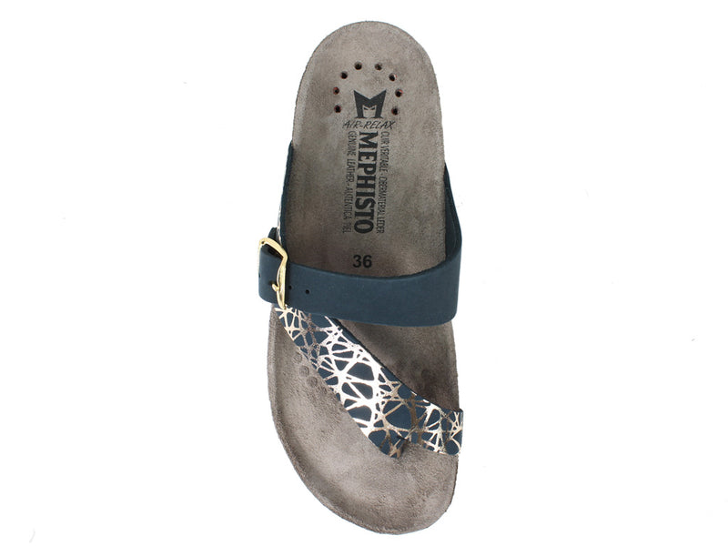 Mephisto Sandals Helen Graphic Navy top view