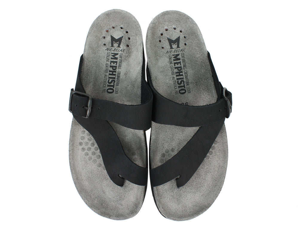 Mephisto Sandals Helen Nubuck Black upper view