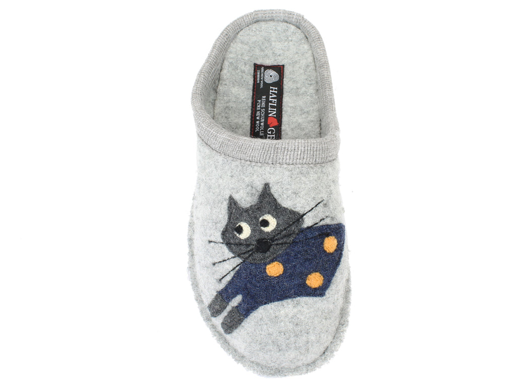 Haflinger Slippers Flair Cucho Cat Grey right foot