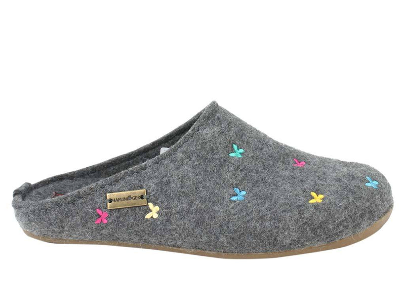 Haflinger Slippers Everest Butterflies Anthracite side view
