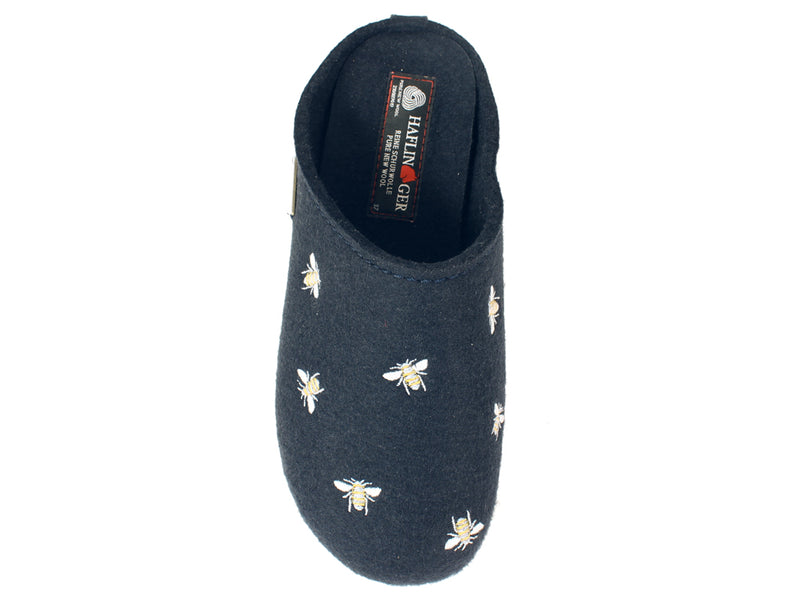 Haflinger Slippers Everest Bees Navy TOP VIEW