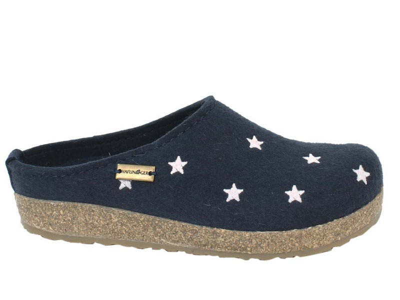 Haflinger Felt Clogs Grizzly Stars Navy Blue side view