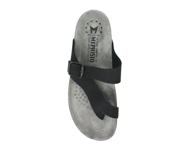 Mephisto Sandals Helen Nubuck Black top view