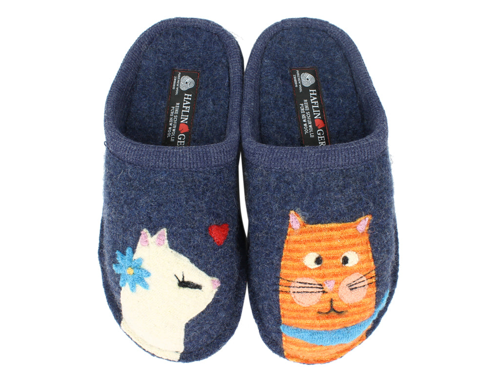 Haflinger Slippers Flair Cats Love Jeans upper view
