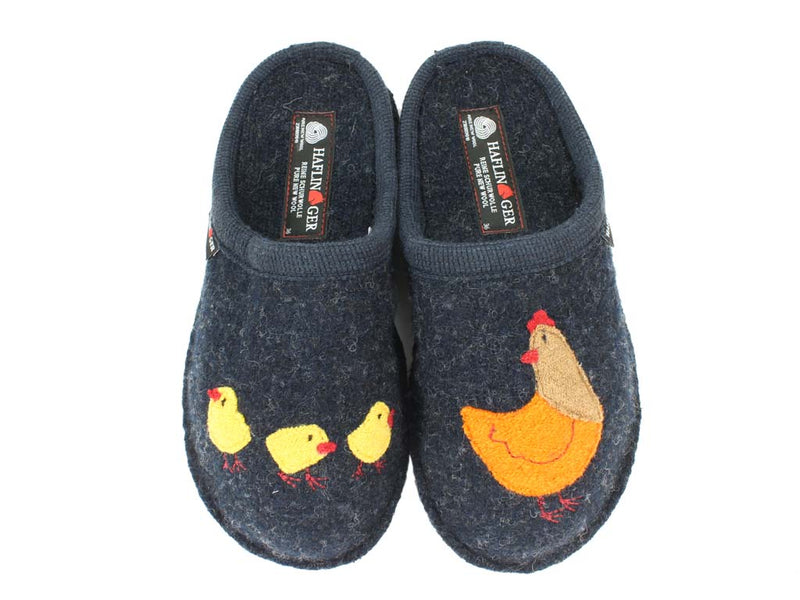 Haflinger Slippers Flair Hen Blue upper view