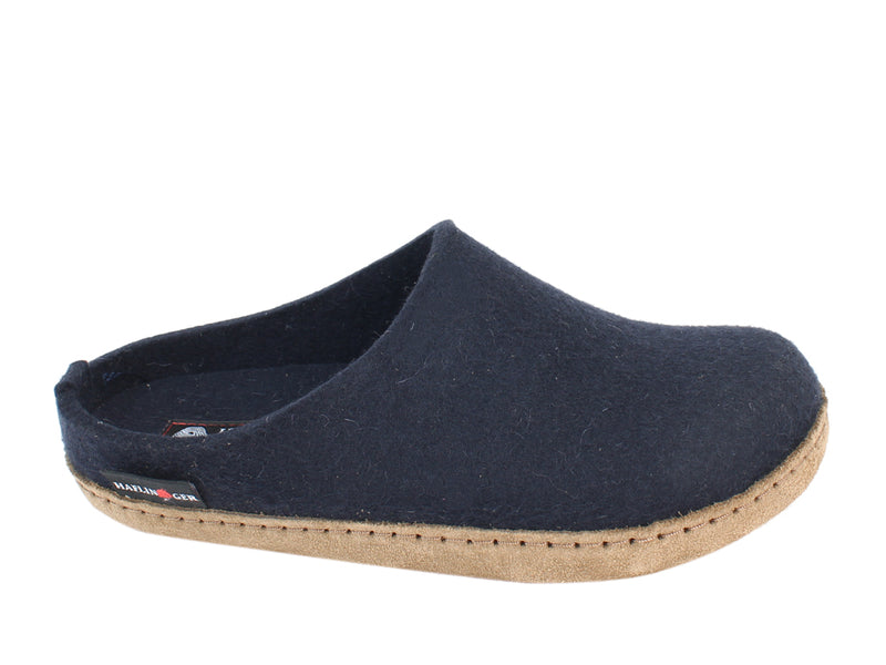 Haflinger Felt Clogs Emil Navy Blue side view