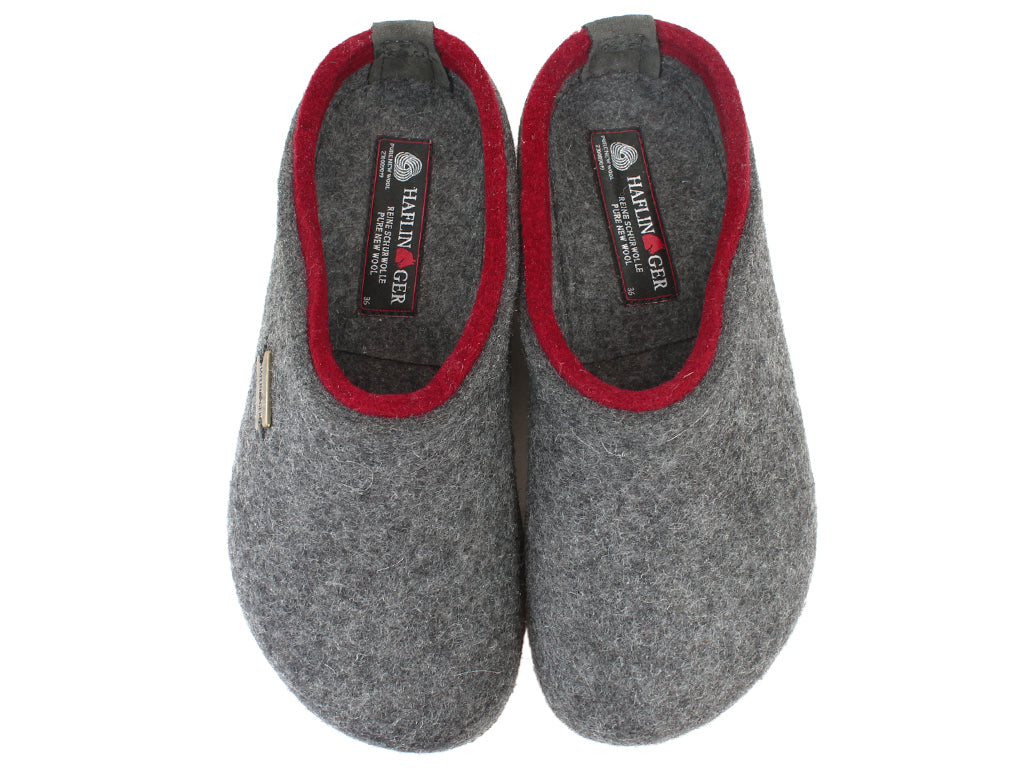 Haflinger Felt Clogs Grizzly Kris Anthracite upper view