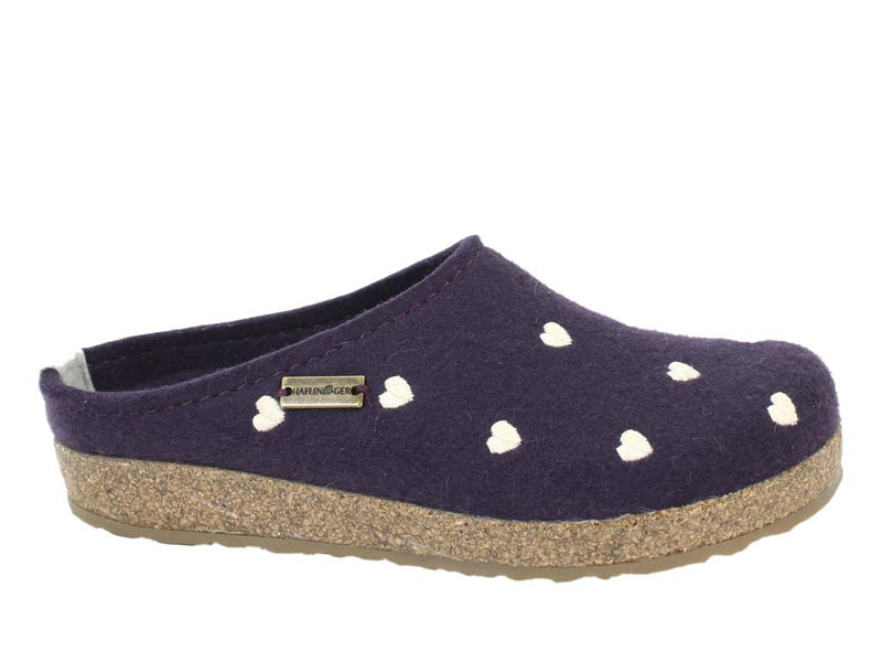 Haflinger Felt Clogs Grizzly Sweetheart Lavender side view