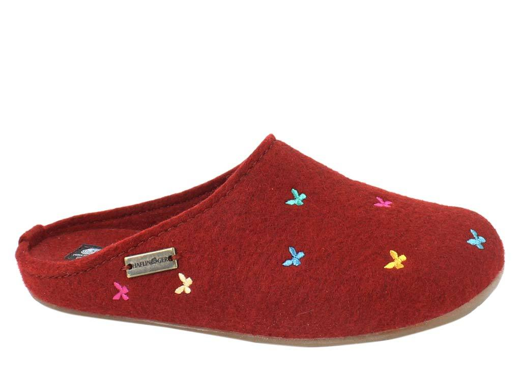 Haflinger Slippers Everest Butterflies Red