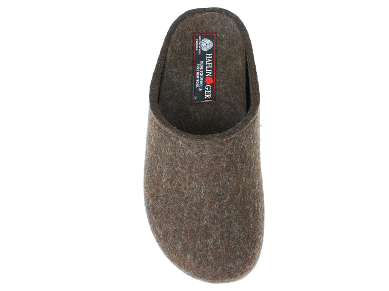 Haflinger Felt Clogs Grizzly Michl Choco top view