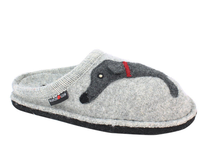 Haflinger Slippers Flair Dachs Dog Grey side view