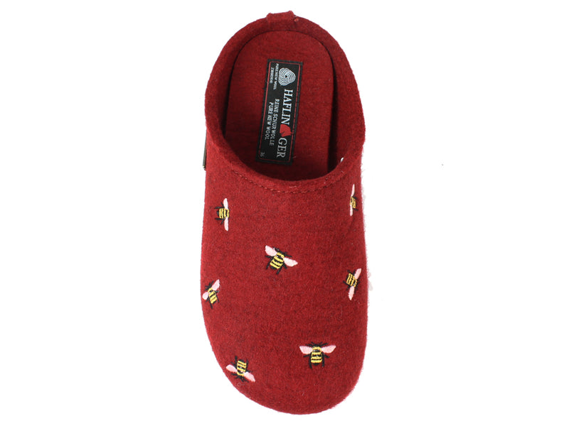 Haflinger Slippers Everest Bees Rubin top view