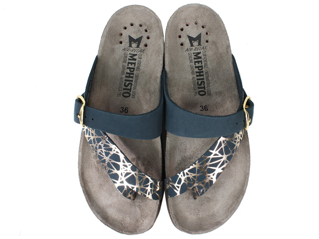Mephisto Sandals Helen Graphic Navy upper view