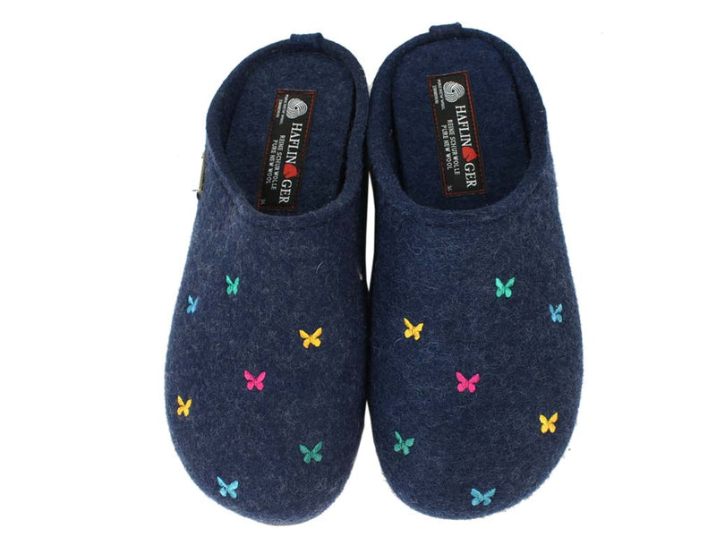 Haflinger Slippers Everest Butterflies Jeans upper view