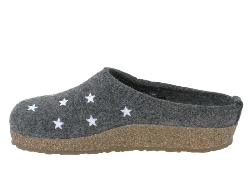 Haflinger Felt Clogs Grizzly Stars Anthracite side view