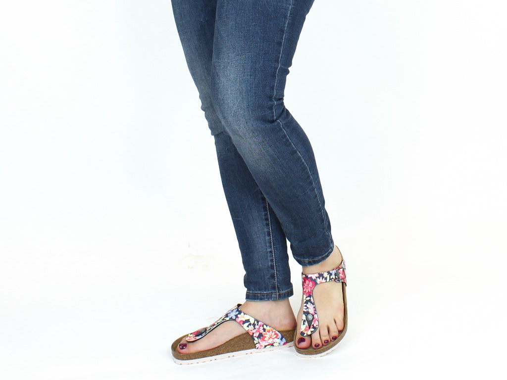 Birkenstock Sandals Gizeh Flowers Navy
