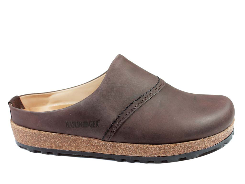 Haflinger Leather Clogs Esbjerg Brown side view