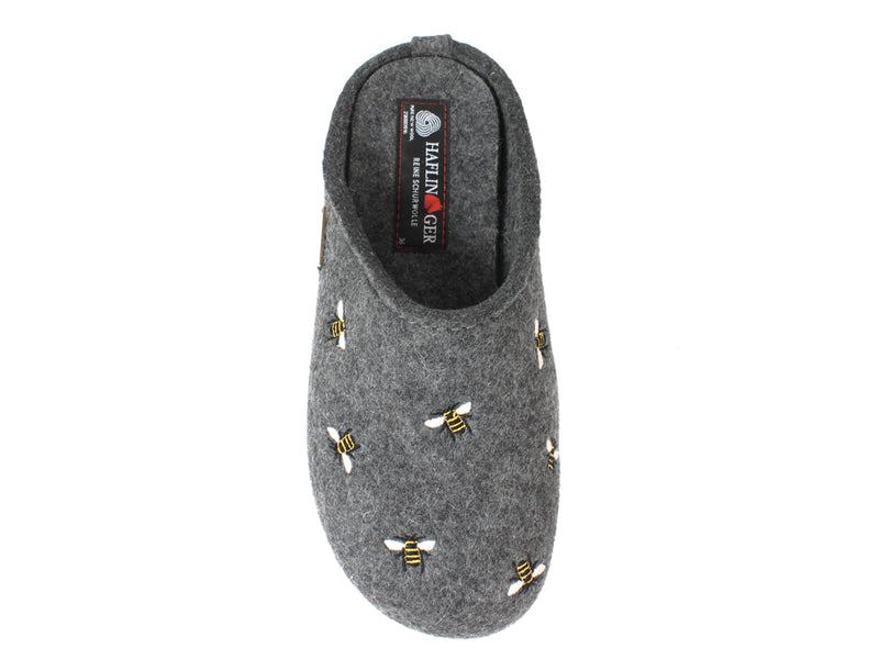 Haflinger Slippers Everest Bees Anthracite top view