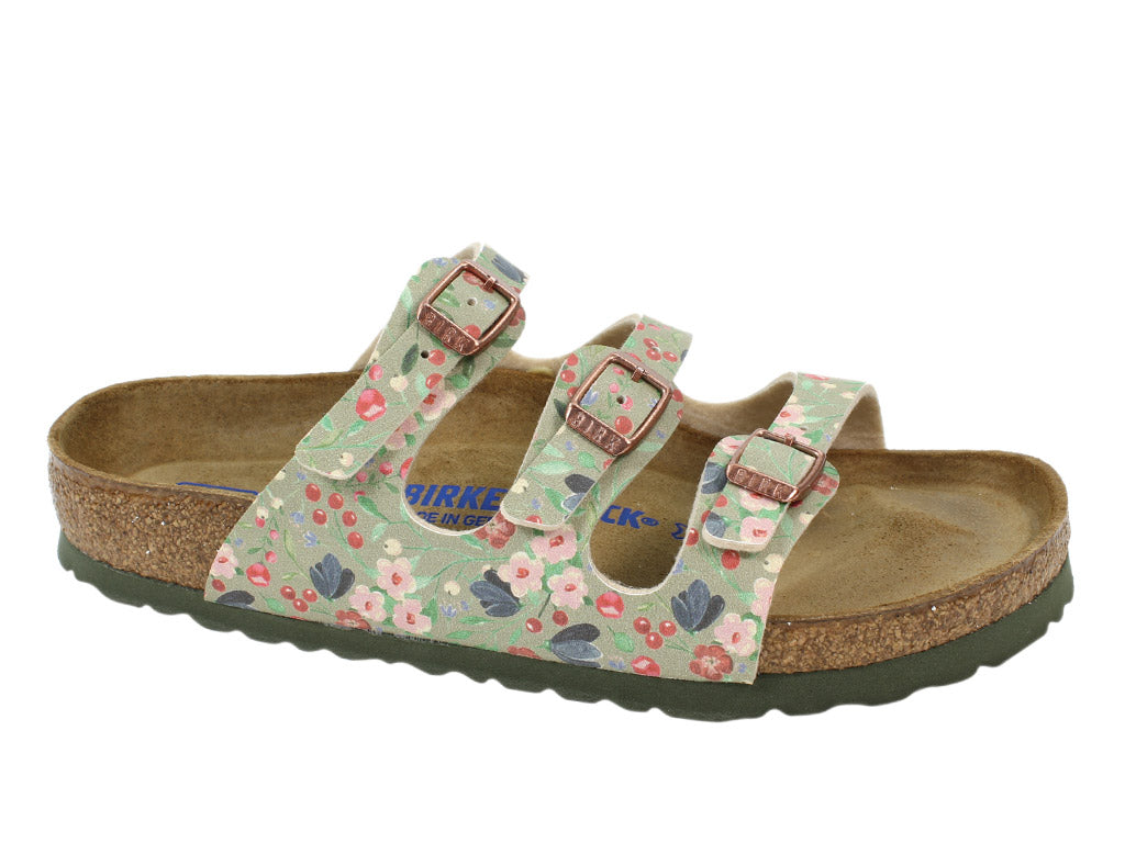 Birkenstock Sandal Florida Flowers Khaki right side view
