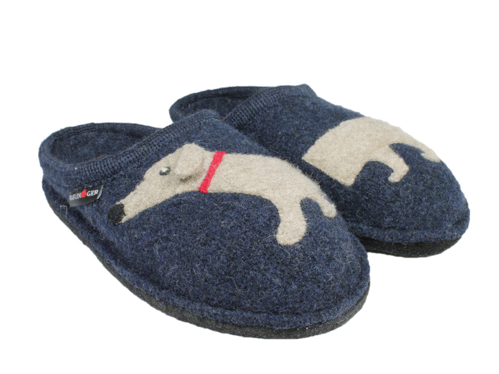 Haflinger Slippers Flair Dachs Dog Dark Blue