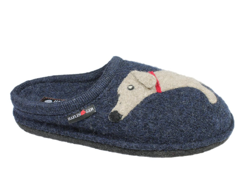 Haflinger Slippers Flair Dachs Dog Dark Blue side view