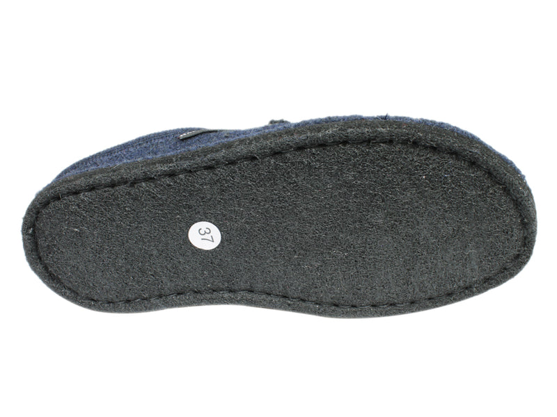 Haflinger Slippers Flair Dachs Dog Dark Blue sole view