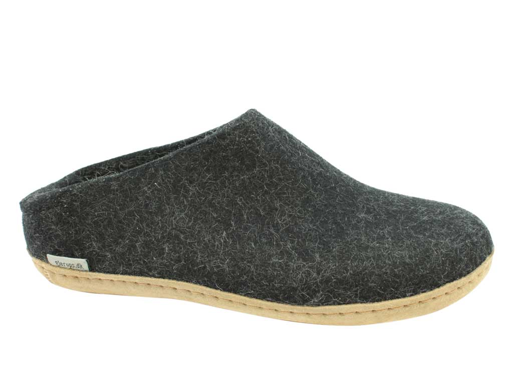 Glerups Slippers open heel Charcoal