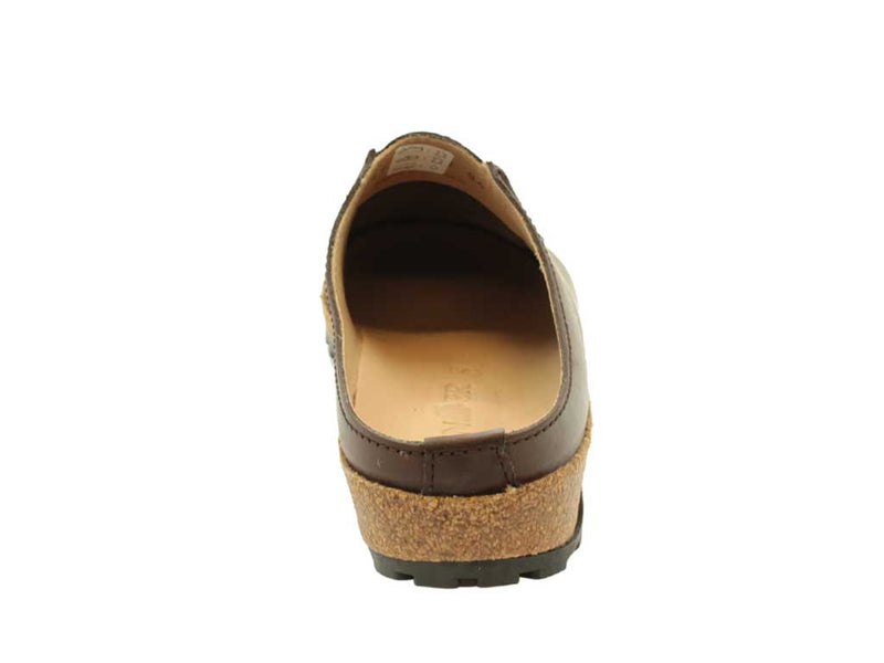 Haflinger Leather Clogs Kolding Brown instep view