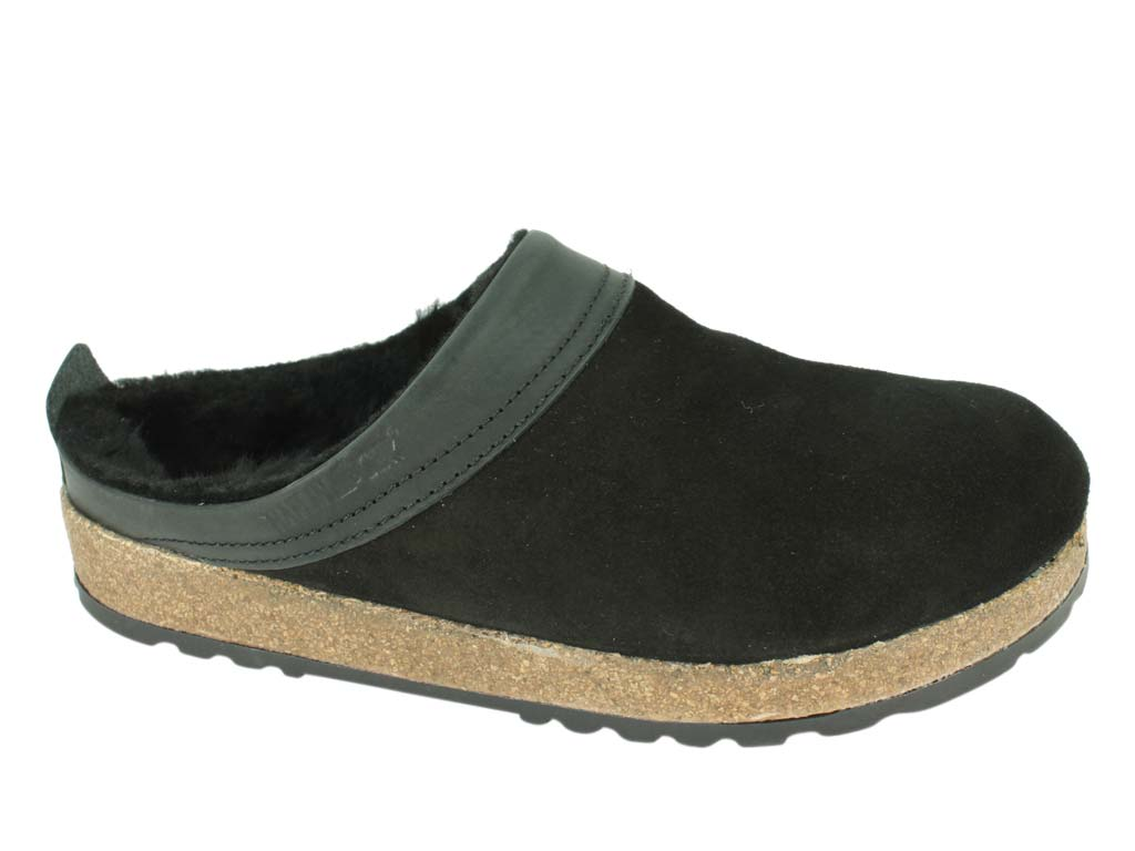 Haflinger Clogs  Sheepskin Snowbird Black side view