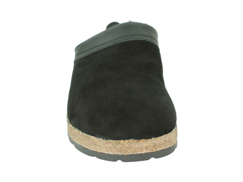 Haflinger Clogs  Sheepskin Snowbird Black front view