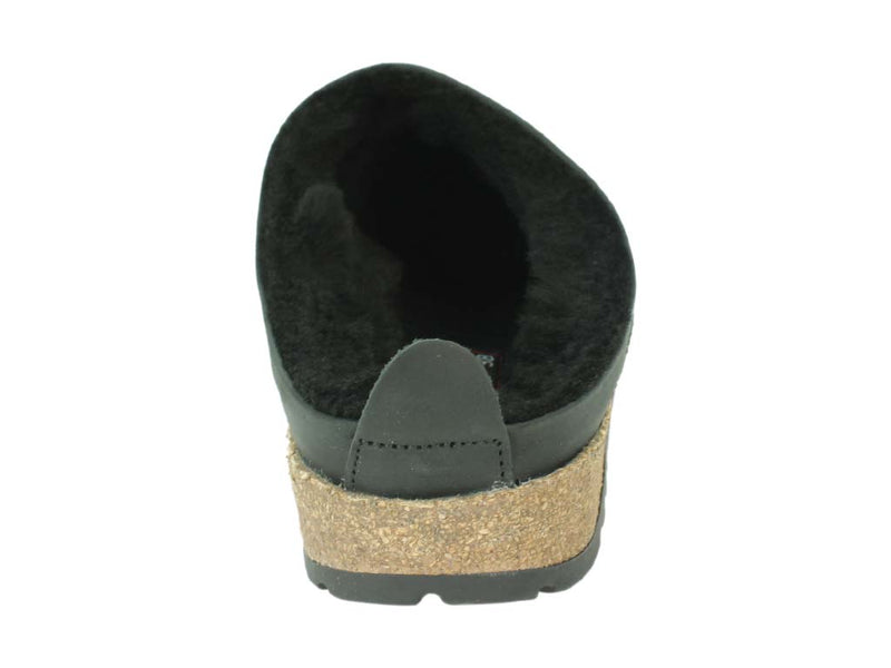 Haflinger Clogs  Sheepskin Snowbird Black back view