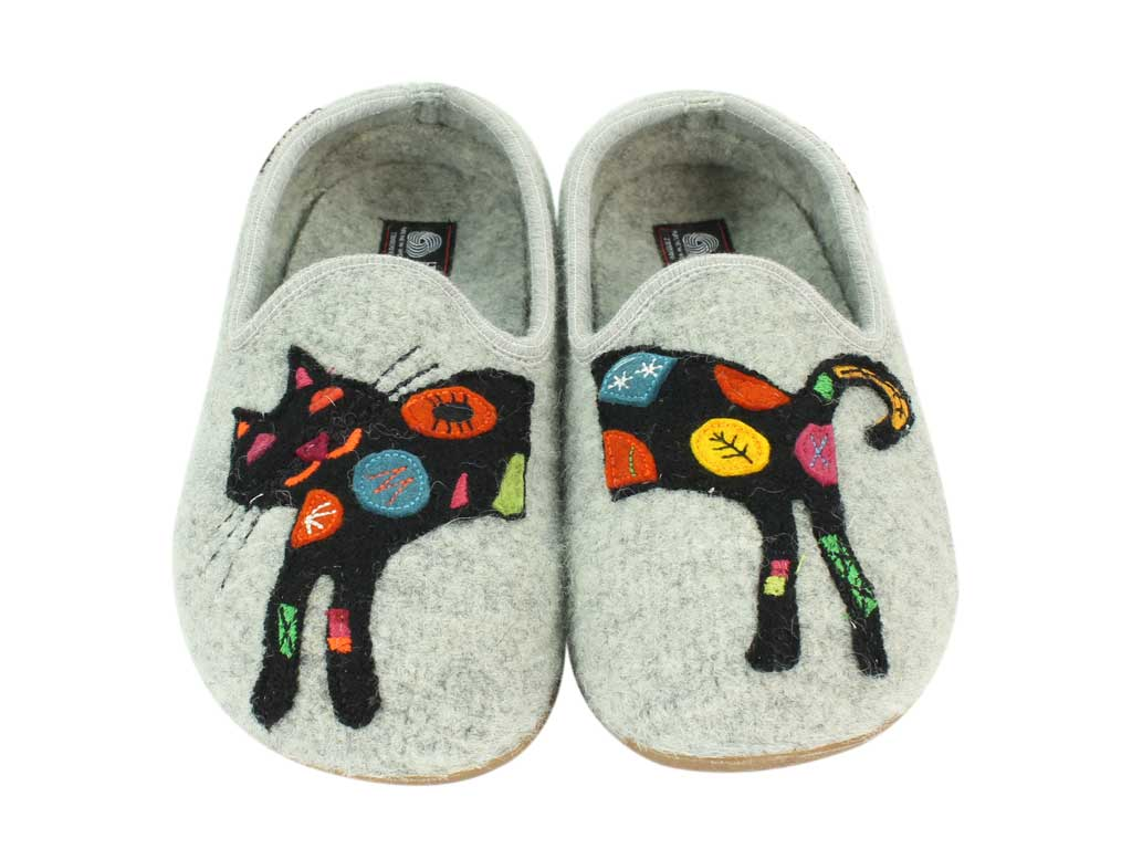 Haflinger Slippers Charlie Cat top view