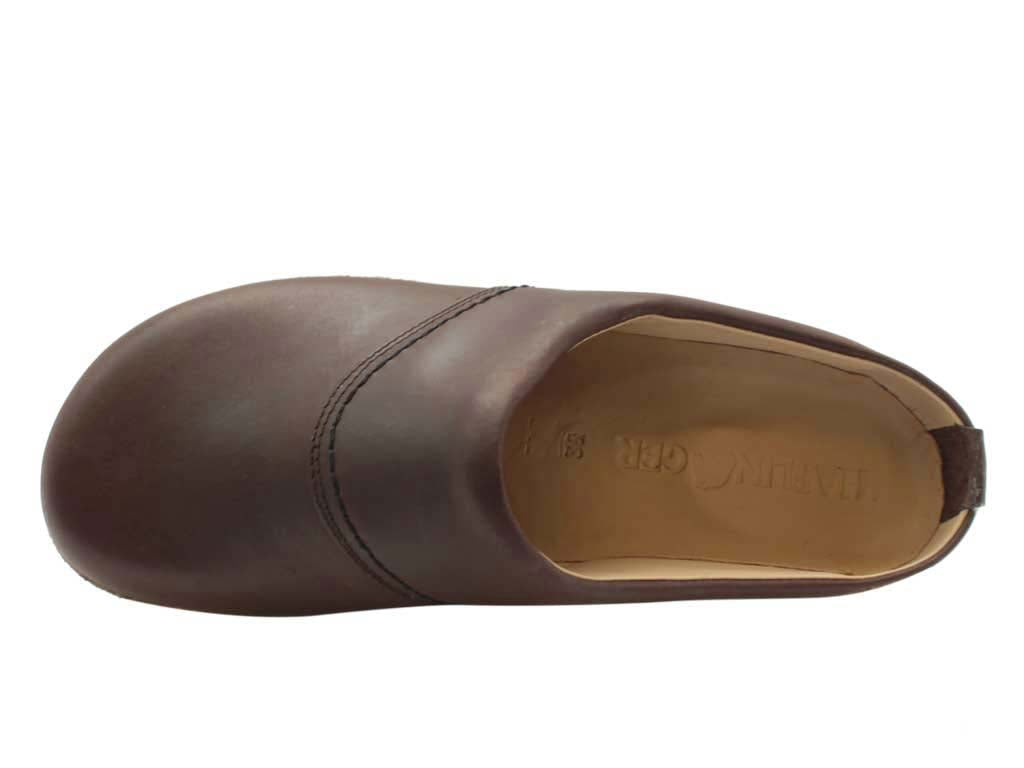 Haflinger Leather Clogs Esbjerg Brown upper view