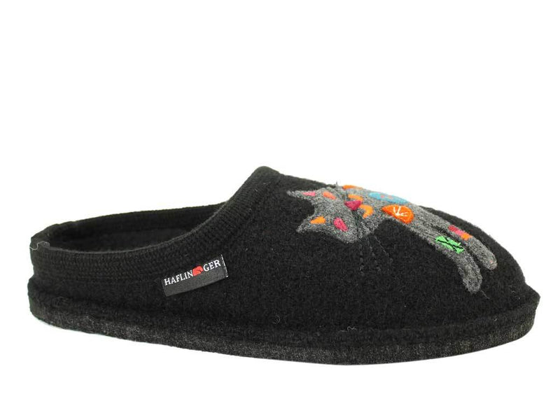 Haflinger Slippers Flair Sassy Cat Black side view