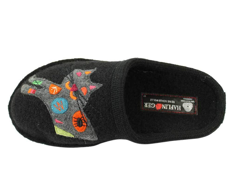 Haflinger Slippers Flair Sassy Cat Black top view